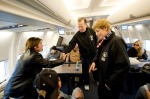The Chairman of the Joint Chief of Staff, Admiral Michael Mullen, meets Billy Ray Cyrus prior to the plane leaving. Comedian Dave Attell, tennis coach Nick Bollettieri, Billy Ray Cyrus and Kournikova are also on the Holiday Tour. (USO Photo by DAVE GATLEY)