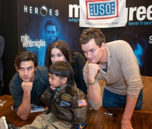 Milo Ventimiglia, Sophia Bush and Austin Nichols on tour with the USO