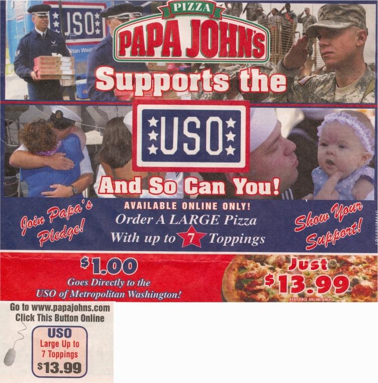 Papa Johns USO Deal