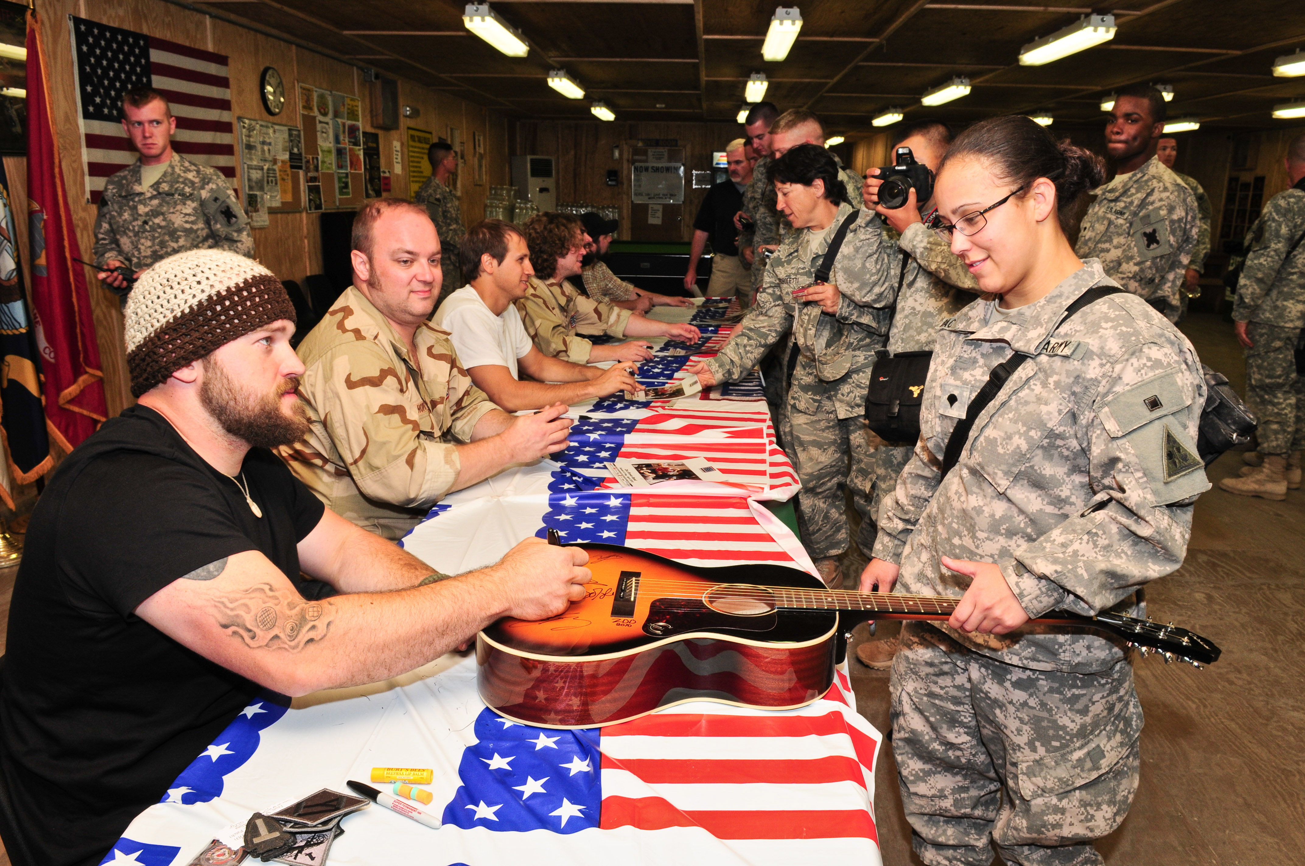 Zac brown band bonus pics united service organizations in baghdad iraq on april 15 2010 during the uso meet and greet at camp striker brown and his band mingled with troops and extended their heartfelt m4hsunfo