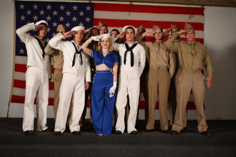 "Kellie Pickler shows her support for the Troops in her latest video, ""Makin' Me Fall in Love Again."""