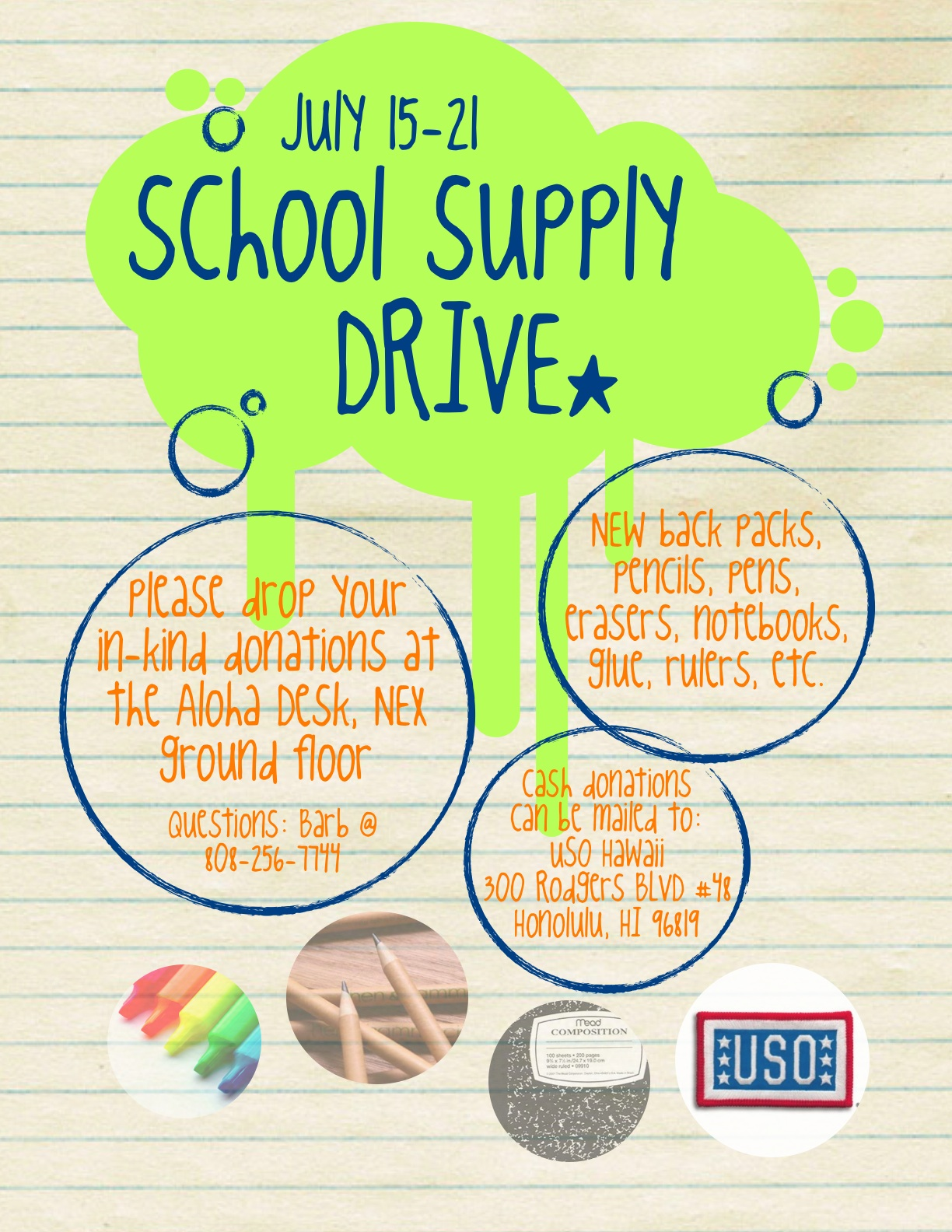 Help Support USO Hawaii's Back-To-School Program