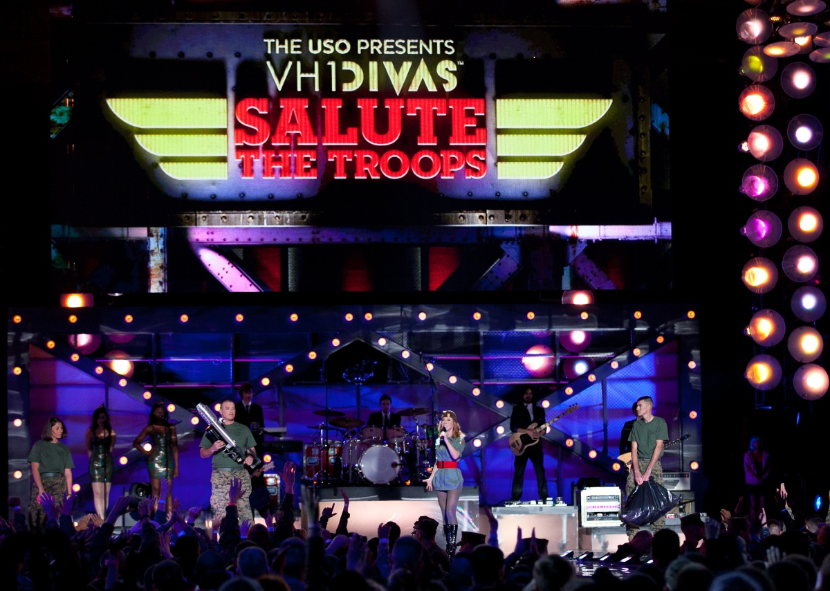 Kathy Griffin onstage with Marines