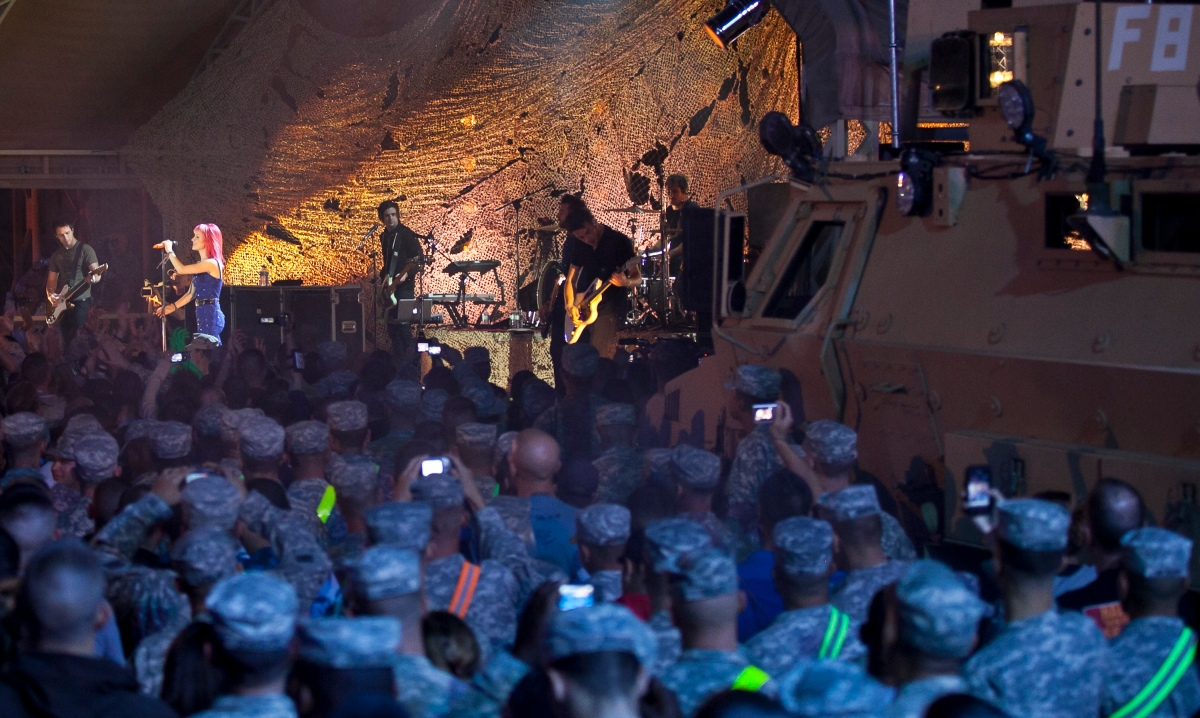 Paramore perform for troops in Kuwait.