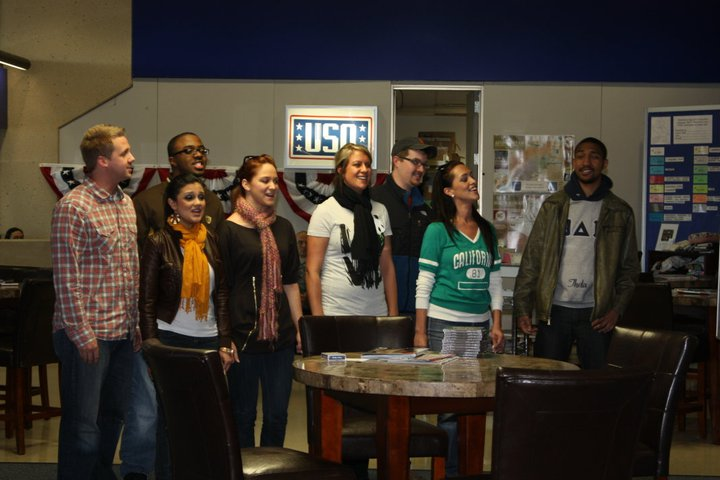 Voice Avenue sings to troops at USO DFW Airport