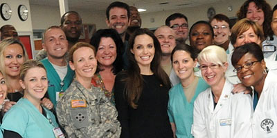 Angelina Jolie and company at Landstuhl Regional Medical Center.