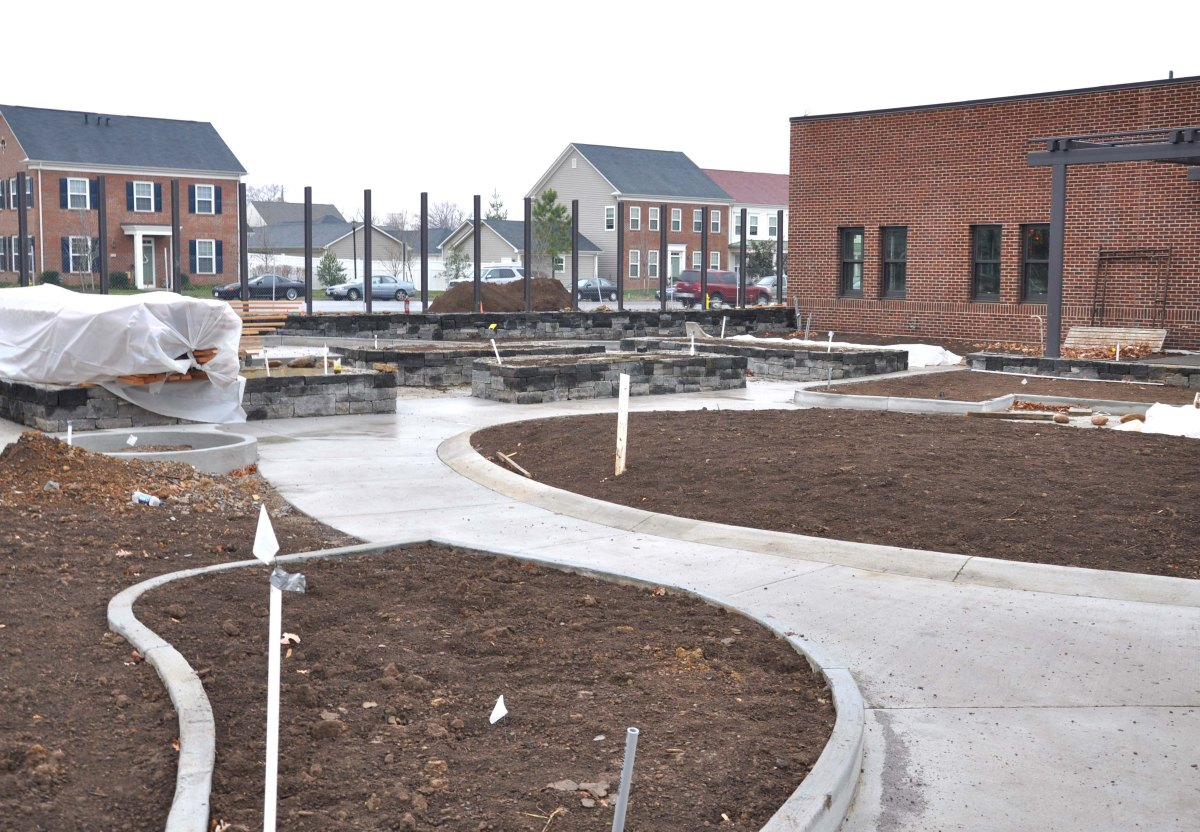 The USO Warrior and Family Center will feature a sprawling Healing Garden, which will be planted in these beds. USO photo by Eric Brandner.