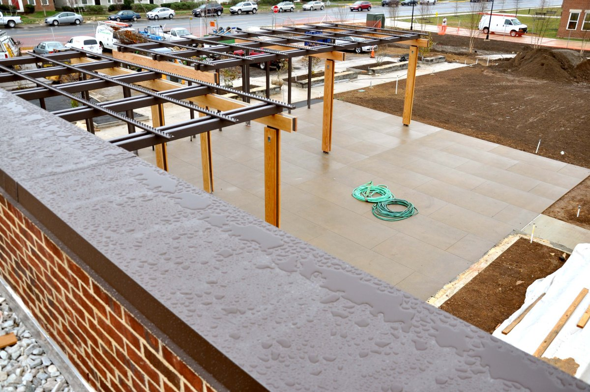 The Patio and Outdoor Grill, as seen from the Rooftop Terrace, will be event central during the summer months at the USO Warrior and Family Center at Fort Belvoir, Va. USO photo by Eric Brandner