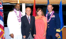 George Villa, center left, and USO Hawaii Director Leigh Graham, center right, are seen at the Dec. 1 Service Salute in Hawaii. USO photo