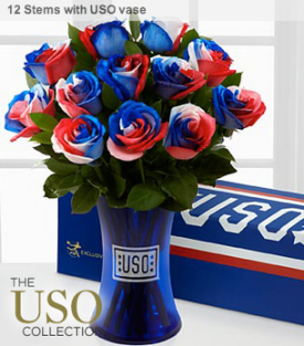 "Search for ""USO"" on the FTD Flowers site to find some extra patriotic gifts!"