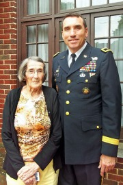 Army Maj. Gen. (Ret.) James Mallory poses with former Statesville (N.C.) Woman's Club President Ellenora Barker - who served in the WAVES during World War II -- at the club's USO Barbecue for the Troops event May 16. Photo courtesy of the Statesville (N.C.) Woman's Club