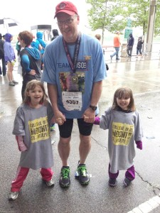 Kenneth Bean with his granddaughters after the Cincinnati Flying Pig Marathon. Photos courtesy of Kenneth Bean