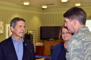 From left, USO President Sloan Gibson, USO Pacific Regional Vice President Carly Harris and Air Force Lt. Gen. Jan-Marc Jouas speak at the event. USO photo