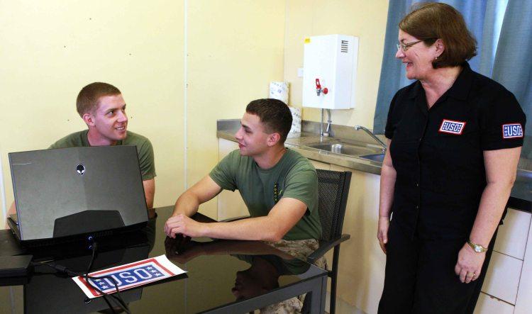USO reps visit MRF-D Marines