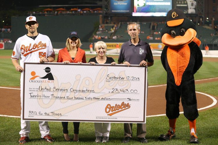 From left Orioles pitcher Darren O'Day and his wife, Fox News' Elizabeth Prann, pose with USO of Metropolitan Washington-Baltimore's Elaine Rogers and John Fallon. Photo courtesy of the Baltimore Orioles