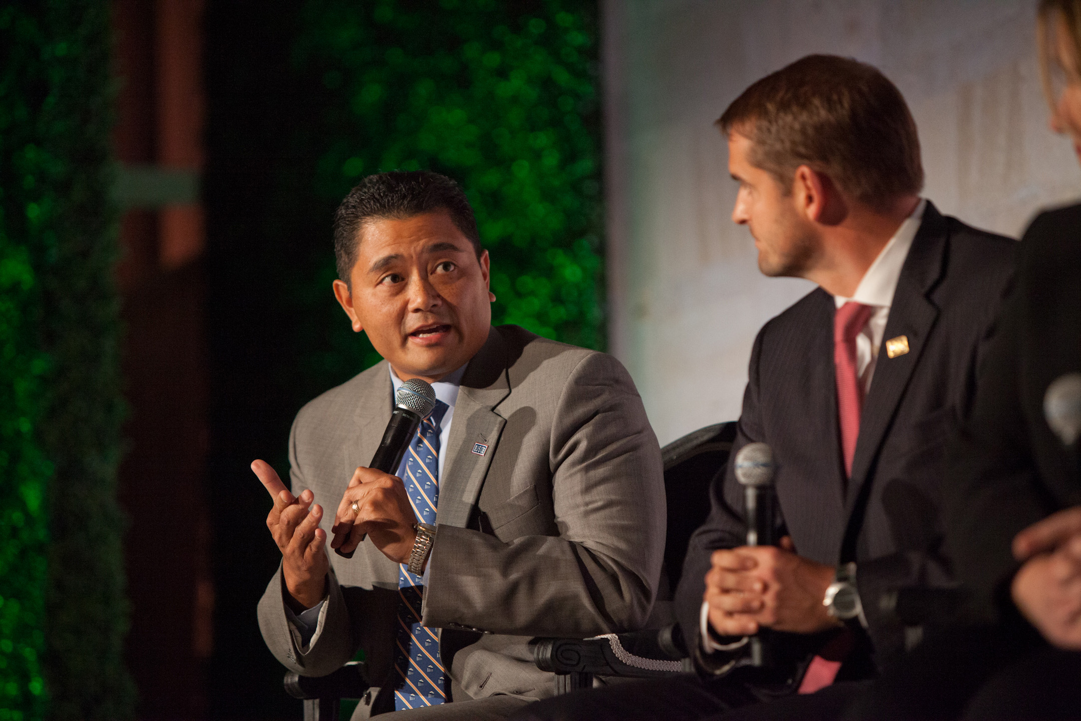 USO Senior Vice President of Operations Alan Reyes, left, discusses military families at The Daily Beast's Hero Summit in Washington on Oct. 10. (Photo courtesy of The Daily Beast)