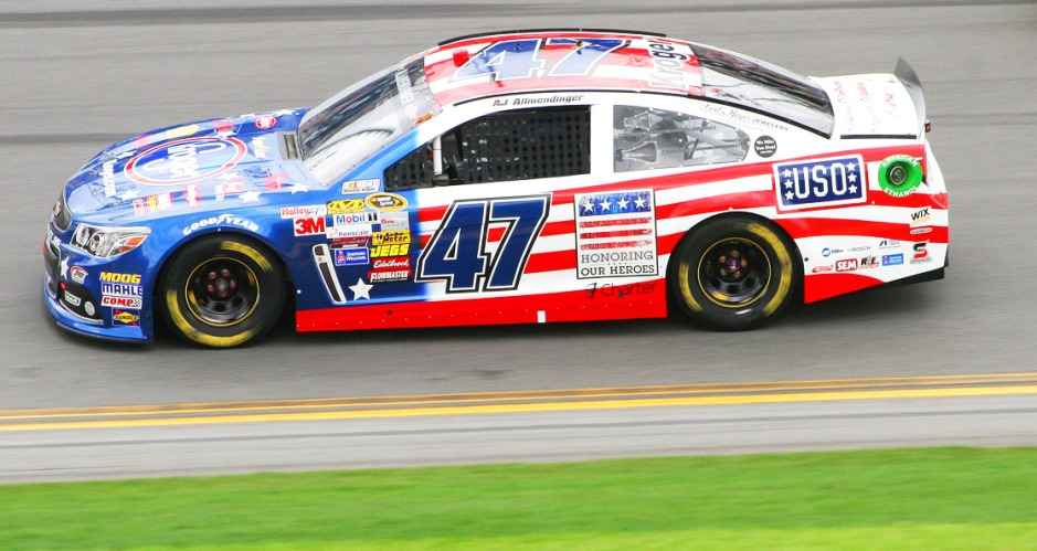 The No. 47 Kroger Chevrolet - driven by AJ Allmendinger - roars around Daytona International Speedway. The Kroger-sponsored car featured the USO logo during Sunday's Daytona 500. Courtesy photo