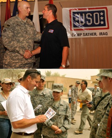 Ravens coach John Harbaugh meets Army Gen. Ray Odierno (top) and mingles with troops during a 2009 USO Tour. USO photo