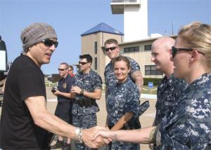 Paul Stanley of KISS talks to troops in Virginia Beach, Va., in 2010. Photo courtesy of the Navy