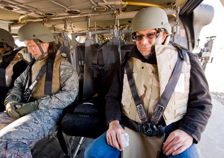 Back in Black ... er, camo. Comedian Lewis Black gets ready to fly to another forward operating base during a 2008 USO entertainment tour. USO photo by Dave Gatley