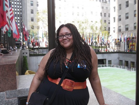 London Bell poses in front of New York's Rockefeller Center during her USO/TAPS-sponsored trip to the Big Apple in October. Photo courtesy of London Bell