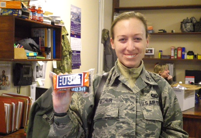 Emily Arthur received a birthday surprise courtesy of USO Bagram thanks to her enterprising mother.