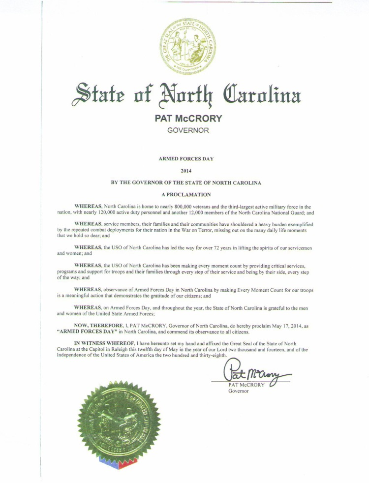 N.C. Proclamation Armed Forces Day