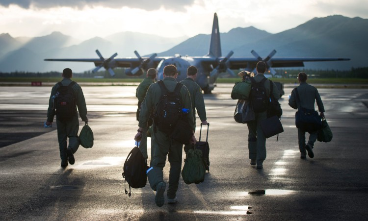 Members from the 36th Airlift Squadron walk Aug. 11 during Red Flag-Alaska at Joint Base Elmendorf-Richardson, Alaska. Air Force photo