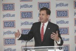 USO of Metropolitan New York CEO Brian Whiting speaks at the dedication of the new center.