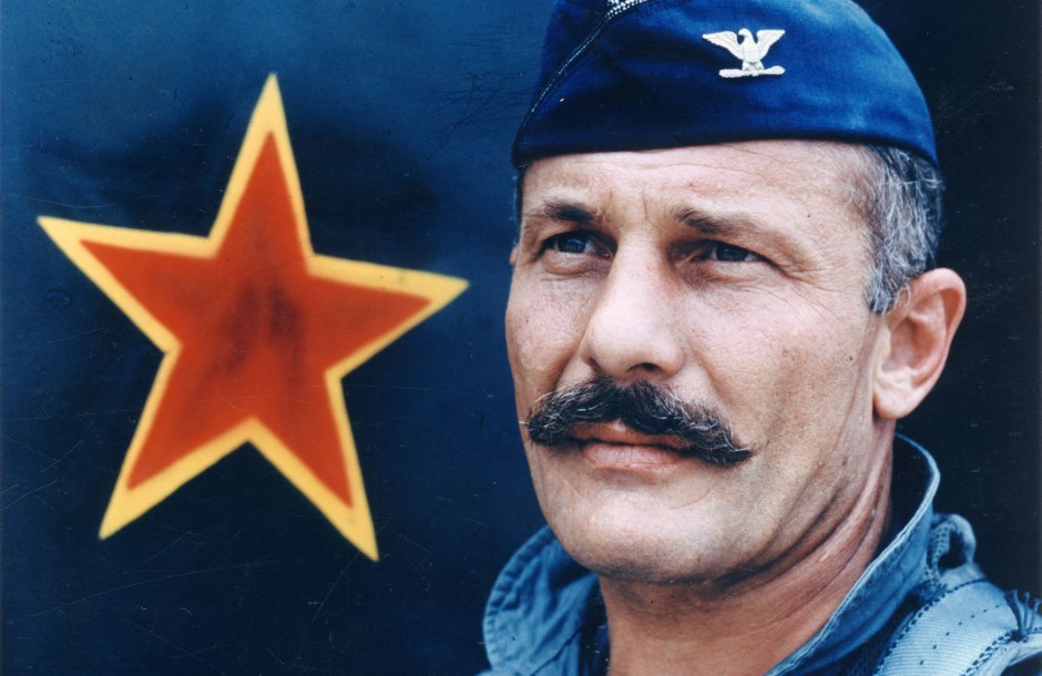 Air Force combat ace Robin Olds and his famous 'stache. Photo via commons