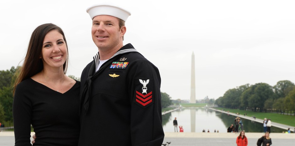 USO Sailor of the Year Petty Officer 1st Class Troy Cromer and his wife,