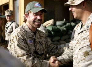Watch out for the fist behind the beard. DOD photo.