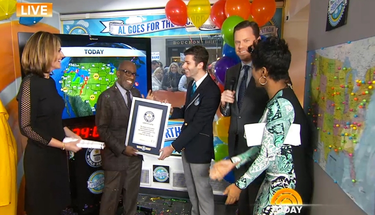 """Today"" co-anchor Al Roker receives his Guinness World Records certificate. Screengrab from NBCNews.com livestream"