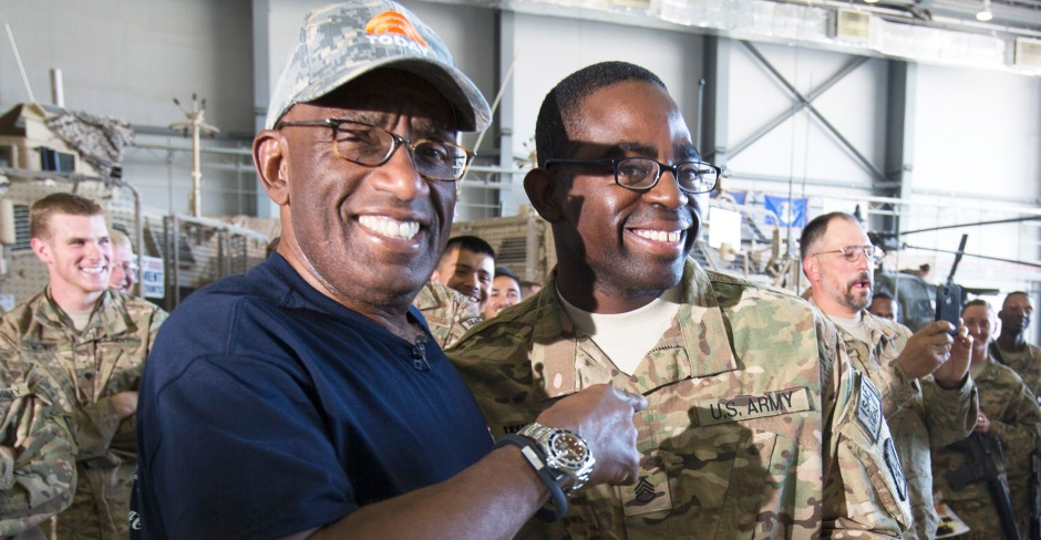 """NBC's Al Roker headlined the """"Today""""/USO Comedy Tour in Afghanistan last month. USO photo by Fred Greaves"""