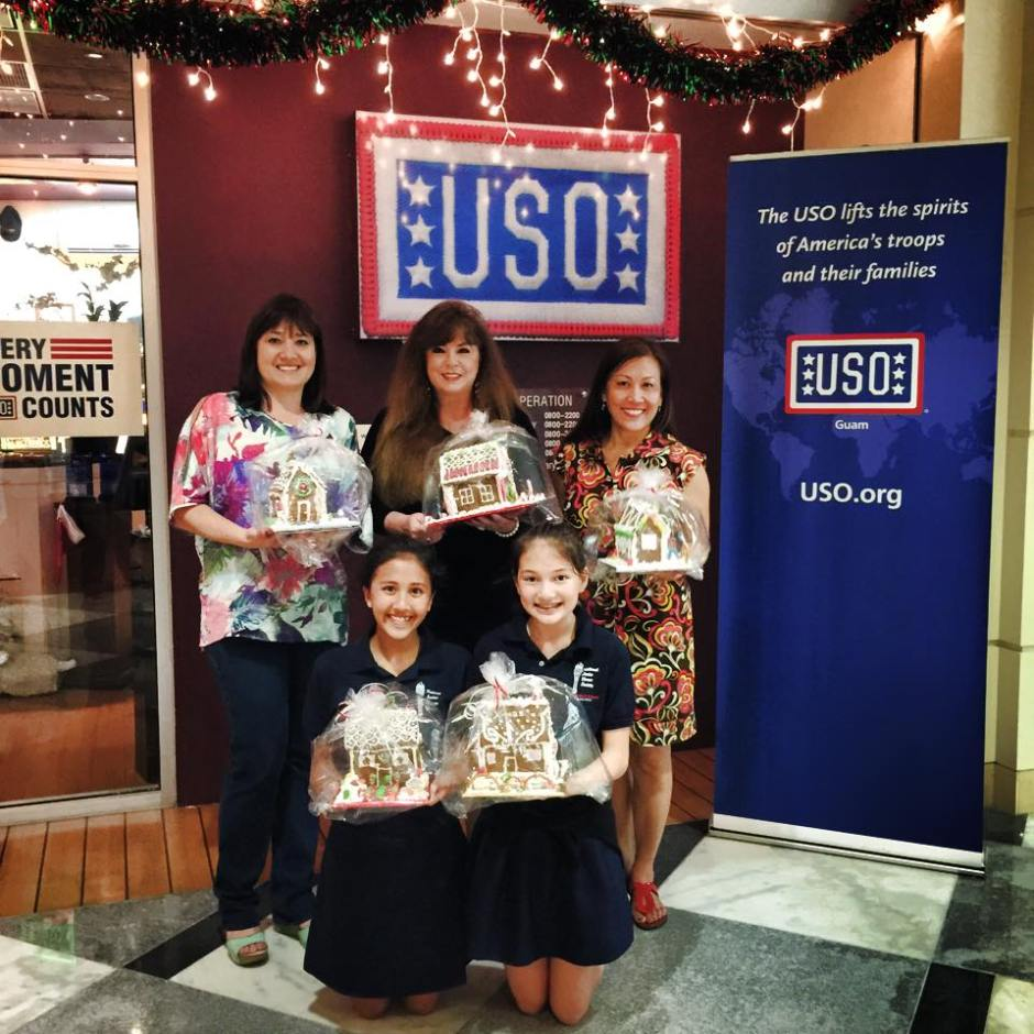 St. John's School, Guam National Junior Honor Society donated 12 beautiful Gingerbread Houses to the Guam USO. USO photo