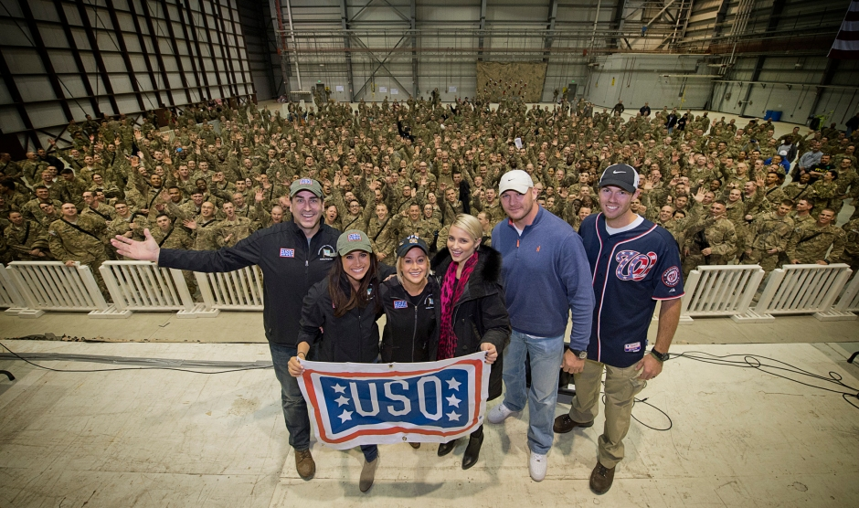 Actor/comedian Rob Riggle, actress Megan Markle, country music star Kellie Pickler, actress Dianna Agron, eight-time Pro Bowler Brian Urlacher and Washington Nationals pitcher Doug Fister went on this December's USO Chairman's Holiday Tour. USO photo by Dave Gatley