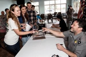 Stewart with fans.