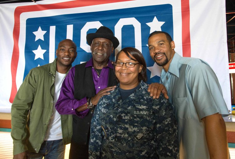 """Being Mary Jane"" cast members B.J. Britt, Richard Roundtree and Aaron Spears joined the USO during a visit to Naval Base San Diego on Tuesday."