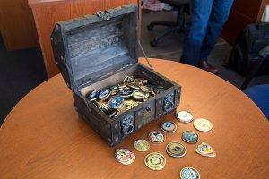 Welling's sea chest, where he keeps his coin collection.