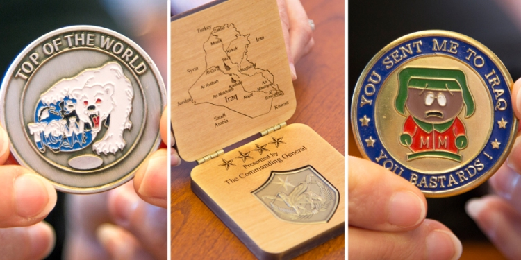 Three of the scores of coins Rachel Tischler has received during her tenure as USO Vice President of Entertainment.