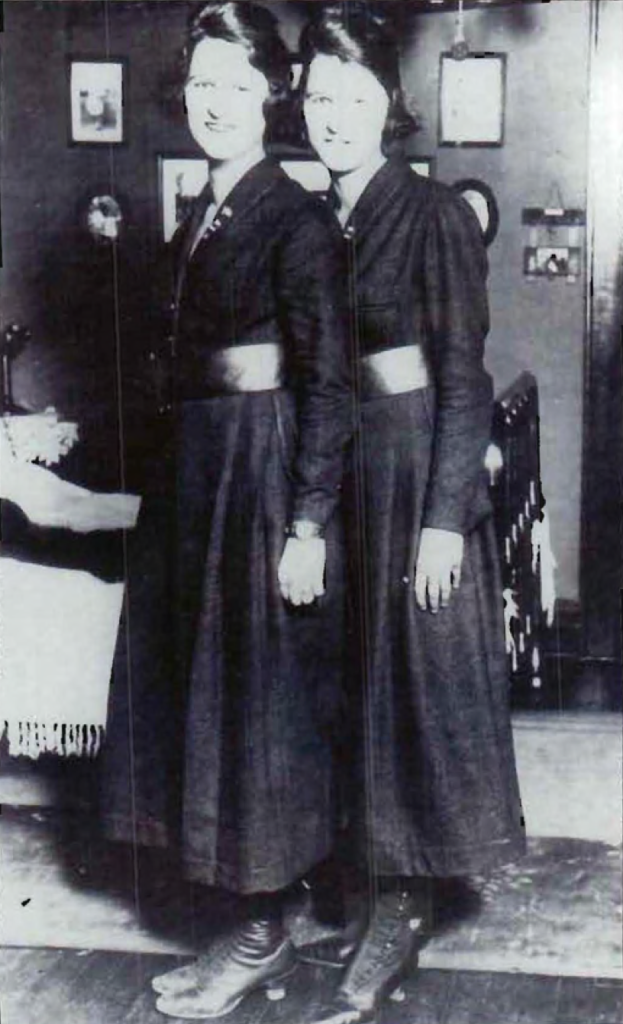 Twin sisters Genevieve and Lucille Baker