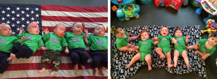 The Hoffman quintuplets in their USO onesies. Photo courtesy the Hoffman family