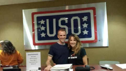 Prentice-Faller and Faller pose at the Douglas MacArthur Center USO. Photo courtesy Joy Prentice-Faller