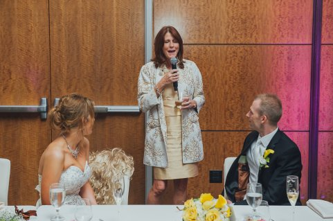 Pat Walsh gives a toast at Prentice-Faller and Faller's wedding. Photo courtesy Joy Prentice-Faller