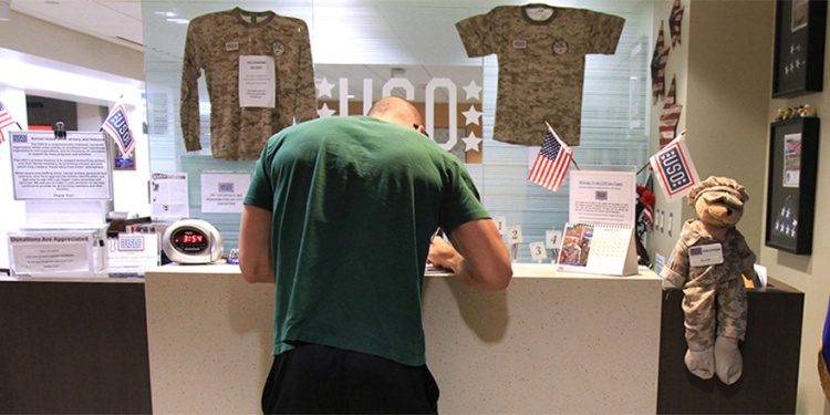 A service member signs in at the USO Las Vegas center at McCarran International Airport.