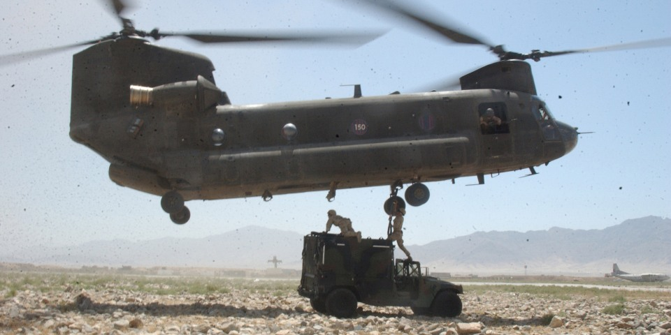 An Army CH-47 Chinook helicopter in Bagram, Afghanistan, in 2004. U.S. Army photo