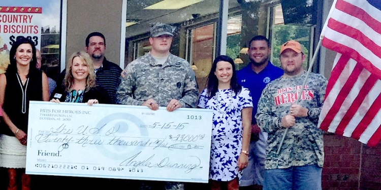 The check presentation. USO photo