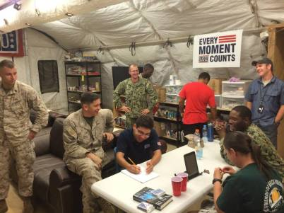 There are lots of smiling faces inside the new USO center on Camp Lemonnier, Djibouti. Courtesy photo