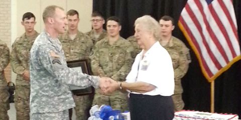 Mary Nelson Adams is congratulated during her farewell ceremony on Friday in Georgia. Photo courtesy of Steve Hart