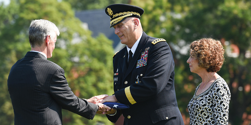 Gen. Ray Odierno, center, retired from the Army after 39 years of service. DOD photo